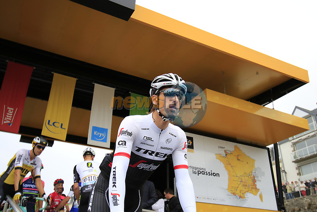 Fabian Cancellara (SUI) Trek-Segafredo at sign on before the start of Stage 3 of the 2016 Tour de France, running 223.5km from Granville to Angers, France . 4th July 2016.<br /> Picture: Eoin Clarke | Newsfile<br /> <br /> <br /> All photos usage must carry mandatory copyright credit (&copy; Newsfile | Eoin Clarke)