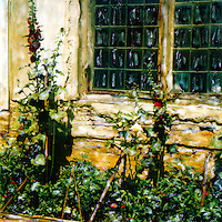 Hollyhocks from windows at the Boboli Gardens.<br />