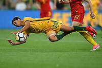 22 November 2017, Melbourne - SAM KERR (20) of Australia dives to head the ball during an international friendly match between the Australian Matildas and China PR at AAMI Stadium in Melbourne, Australia.. Australia won 5-1. Photo Sydney Low