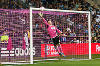 Philadelphia Union goalkeeper Zac MacMath (18) goes for a shot. The Philadelphia Union defeated Toronto FC 1-0 during a Major League Soccer (MLS) match at PPL Park in Chester, PA, on October 5, 2013.