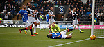 03.11.18 St Mirren v Rangers: Alfredo Morelos fails to get on the end of a cross