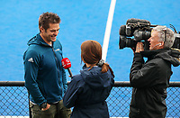 Richie McCaw talks to 1 News during the NHL warmup match between Auckland and Midlands at Diocesan School for Girls in Auckland, New Zealand on Sunday, 11 August 2019. Photo: Simon Watts / bwmedia.co.nz