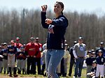 Olympian Emily Sweeney, who competed in the luge during the recent Winter Olympics in PyeongChang, South Korea,  throws out the first pitch,  Saturday, April 21, 2018, at the opening day of Suffield little league. (Jim Michaud / Journal Inquirer)