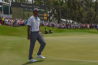 Tiger Woods (USA) reacts to barely missing his birdie attempt on 18 during round 3 of The Players Championship, TPC Sawgrass, at Ponte Vedra, Florida, USA. 5/12/2018.<br /> Picture: Golffile | Ken Murray<br /> <br /> <br /> All photo usage must carry mandatory copyright credit (&copy; Golffile | Ken Murray)