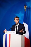 Le Pr&eacute;sident fran&ccedil;ais Emmanuel Macron donne une conf&eacute;rence de presse lors du  Sommet europ&eacute;en &agrave; Bruxelles.<br /> Belgique, Bruxelles, 22 mars 2019 <br /> President of France Emmanuel Macron gives a press conference during the European Union summit.<br /> Belgium, Brussels, 22 March 2019.