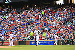 Yu Darvish (Rangers),<br /> APRIL 11, 2014 - MLB :<br /> Yu Darvish of the Texas Rangers jogs to the mound during the baseball game against the Houston Astros at Rangers Ballpark in Arlington in Arlington, Texas, United States. (Photo by Thomas Anderson/AFLO) (JAPANESE NEWSPAPER OUT)