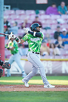 Eugene Emeralds right fielder Jonathan Sierra (22) follows through on his swing during a Northwest League game against the Salem-Keizer Volcanoes at Volcanoes Stadium on August 31, 2018 in Keizer, Oregon. The Eugene Emeralds defeated the Salem-Keizer Volcanoes by a score of 7-3. (Zachary Lucy/Four Seam Images)