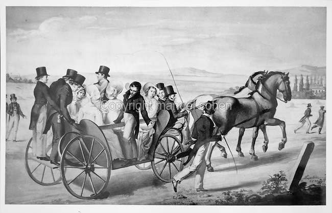 Trip in a caleche, a type of horse-drawn carriage, with friends, around Vienna, c. 1850, painting. Copyright © Collection Particuliere Tropmi / Manuel Cohen