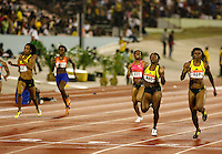 Aleen Bailey(527) 22.96sec. edging Bianca Knight(630) 23.15sec.  in the 200m at the Jamaica International Invitational Meet in Kingston, Jamaica on Saturday, May 2nd. 2009. Photo by Errol Anderson, The Sporting Image.net
