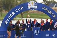 Sergio Garcia lifts the Cup after Team Europe win the 2018 Ryder Cup at Le Golf National, Ile-de-France, France. 30/09/2018.<br /> Picture Thos Caffrey / Golffile.ie<br /> <br /> All photo usage must carry mandatory copyright credit (© Golffile | Thos Caffrey)