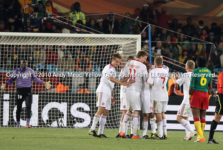 19 JUN 2010: Denmark players celebrate a goal by Nicklas Bendtner (DEN) (11). The Cameroon National Team lost 1-2 to the Denmark National Team at Loftus Versfeld Stadium in Tshwane/Pretoria, South Africa in a 2010 FIFA World Cup Group E match.