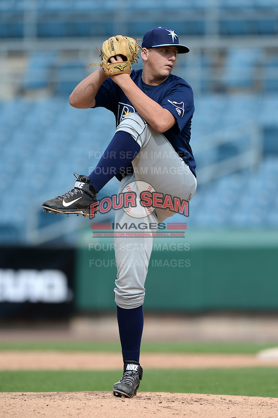 Jordan Gubelman (25) of Sarasota High School in Sarasota, Florida playing for the Tampa Bay Rays scout team during the East Coast Pro Showcase on July 30, 2014 at NBT Bank Stadium in Syracuse, New York.  (Mike Janes/Four Seam Images)