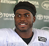 Quincy Enunwa #81 of the New York Jets speaks with the media after team practice at the Atlantic Health Jets Training Center in Florham Park, NJ on Sunday, July 29, 2018.