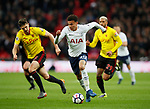 Dele Alli of Tottenham breaks past Craig Cathcart of Watford during the premier league match at Wembley Stadium, London. Picture date 30th April 2018. Picture credit should read: David Klein/Sportimage