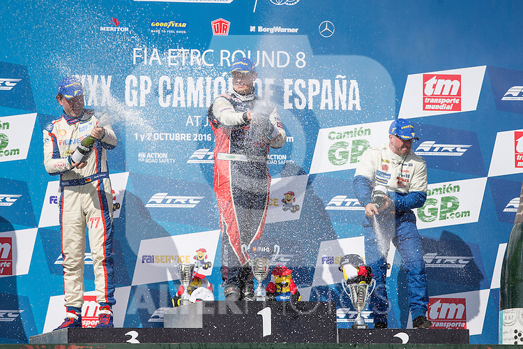 German driver Rene Reinert belonging German team Rene Reinert, Czech driver Adam Lacko belonging Czech team Buggyra International Racing System and German driver Jochen  Hahn belonging German team Jochen Hahn  during the podium of class 1 of race R1 of the XXX Spain GP Camion of the FIA European Truck Racing Championship 2016 in Madrid. October 01, 2016. (ALTERPHOTOS/Rodrigo Jimenez)
