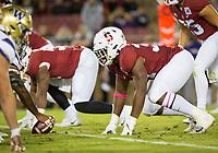 Stanford, CA - October 5, 2019: Thomas Booker at Stanford Stadium. The Stanford Cardinal beat the University of Washington Huskies 23-13.