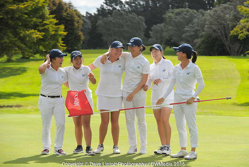 The Auckland team. 2016 Toro Women's Interprovincial Golf Championship at Westown Golf Club in New Plymouth, New Zealand on Friday, 9 December 2016. Photo: Dave Lintott / lintottphoto.co.nz