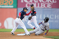 Salem Red Sox shortstop Tzu-Wei Lin (17) fields a throw as Keenyn Walker (24) of the Winston-Salem Dash steals second base at LewisGale Field at Salem Memorial Ballpark on May 14, 2015 in Salem, Virginia.  The Red Sox defeated the Dash 1-0.  (Brian Westerholt/Four Seam Images)