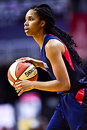Washington, DC - June 15, 2018: Washington Mystics guard Tayler Hill (4) handles the ball during game between the Washington Mystics and New York Liberty at the Capital One Arena in Washington, DC. (Photo by Phil Peters/Media Images International)