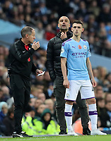 2nd November 2019; Etihad Stadium, Manchester, Lancashire, England; English Premier League Football, Manchester City versus Southampton; Manchester City manager Pep Guardiola sends on substitute Phil Foden of Manchester City - Strictly Editorial Use Only. No use with unauthorized audio, video, data, fixture lists, club/league logos or 'live' services. Online in-match use limited to 120 images, no video emulation. No use in betting, games or single club/league/player publications