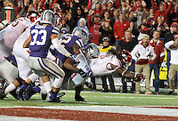 NWA Democrat-Gazette/MICHAEL WOODS • @NWAMICHAELW<br /> University of Arkansas running back Arkansas running back Alex Collins (3) dives into the end zone for a touchdown in the 4th quarter of the Razorbacks 45-23 win over Kansas State in the 57th annual AutoZone Liberty Bowl January 2, 2016.