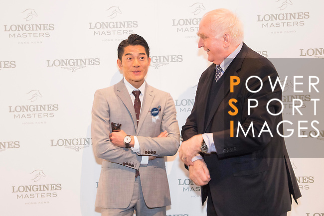 Actor and singer Aaron Kwok, greeted by Walter von Känel, President of Longines, attends the Longines Masters of Hong Kong 2017 on 12 February 2017 at the AsiaWorld Expo in Hong Kong, China. Photo by Weixiang Lim / Power Sport Images