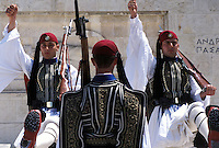 guards, Athens, Greece, Parliament, Europe, Changing of the Guards (evzones) ceremony at the House of the Greek Parliament at Plateia Syntagmatos (Constitution Square) in downtown Athens.