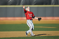 Gardner-Webb Runnin' Bulldogs shortstop Taber Mongero (23) calls for a pop fly during the game against the Wake Forest Demon Deacons at David F. Couch Ballpark on February 18, 2018 in  Winston-Salem, North Carolina. The Demon Deacons defeated the Runnin' Bulldogs 8-4 in game one of a double-header.  (Brian Westerholt/Four Seam Images)