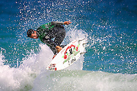 Nick Wallace (AUS)..Cottesloe Beach, Perth, Western Australia, Saturday August 18 2001..A round of  The Quiksilver Airshow International Series, with $20,000 in prize-money was run today at Cottesloe Beach. The Quiksilver Airshow is the richest and most spectacular surfing event to be staged at a Perth Beach. The contest is based around the futuristic moves of aerial surfing, where each surfer  is judged on their best two aerial manoeuvres in each heat. (Photo: joliphotos.com)