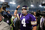 Minnesota Vikings quarterback Brett Favre (4) walks off the field after an NFL football game against the Green Bay Packers at the Hubert H. Humphrey Metrodome on October 5, 2009 in Minneapolis, Minnesota. The Vikings won 30-23. (AP Photo/David Stluka)