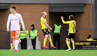 Burton Albion's Liam Boyce, left, celebrates scoring the opening goal with team-mate John Brayford<br /> <br /> Photographer Chris Vaughan/CameraSport<br /> <br /> The EFL Sky Bet League One - Burton Albion v Blackpool - Saturday 16th March 2019 - Pirelli Stadium - Burton upon Trent<br /> <br /> World Copyright &copy; 2019 CameraSport. All rights reserved. 43 Linden Ave. Countesthorpe. Leicester. England. LE8 5PG - Tel: +44 (0) 116 277 4147 - admin@camerasport.com - www.camerasport.com