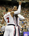 USA's Russell Westbrook (l) and Tyson Chandler celebarte during friendly match.July 22,2012. (ALTERPHOTOS/Acero)