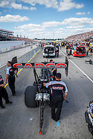Sep 3, 2016; Clermont, IN, USA; NHRA top fuel driver Steve Torrence waits in the staging lanes for his turn to race during qualifying for the US Nationals at Lucas Oil Raceway. Mandatory Credit: Mark J. Rebilas-USA TODAY Sports