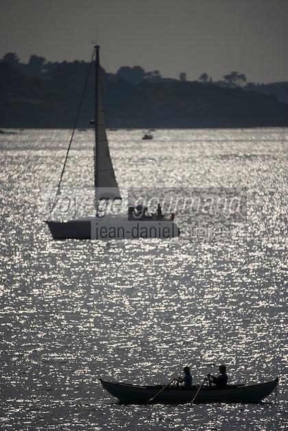 Europe/France/Bretagne/35/Ille et Vilaine/ Saint-Malo: Devant les remparts doris et voilier en navigation