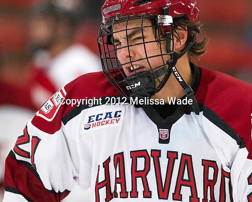 Marshall Everson (Harvard - 21) - The Harvard University Crimson defeated the visiting Rensselaer Polytechnic Institute Engineers 4-0 (EN) on Saturday, November 10, 2012, at Bright Hockey Center in Boston, Massachusetts.