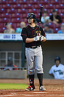 Quad Cities River Bandits first baseman A.J. Reed (18) at bat during a game against the Cedar Rapids Kernels on August 18, 2014 at Perfect Game Field at Veterans Memorial Stadium in Cedar Rapids, Iowa.  Cedar Rapids defeated Quad Cities 5-3.  (Mike Janes/Four Seam Images)