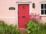 Red valerian flowering plant, centranthus ruber, cottage garden front door, Suffolk, England