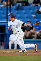 Dunedin Blue Jays third baseman Andy Burns #9 during a game against the Tampa Yankees on April 11, 2013 at Florida Auto Exchange Stadium in Dunedin, Florida.  Dunedin defeated Tampa 3-2 in 11 innings.  (Mike Janes/Four Seam Images)