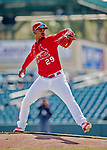 29 February 2020: St. Louis Cardinals pitcher Alex Reyes takes some pre-game drills on the mound prior to a game against the Washington Nationals at Roger Dean Stadium in Jupiter, Florida. The Cardinals defeated the Nationals 6-3 in Grapefruit League play. Mandatory Credit: Ed Wolfstein Photo *** RAW (NEF) Image File Available ***