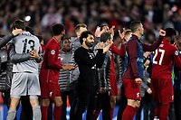 Liverpool's Mohamed Salah applauds the fans as he celebrates at the final whistle <br /> <br /> Photographer Rich Linley/CameraSport<br /> <br /> UEFA Champions League Semi-Final 2nd Leg - Liverpool v Barcelona - Tuesday May 7th 2019 - Anfield - Liverpool<br />  <br /> World Copyright © 2018 CameraSport. All rights reserved. 43 Linden Ave. Countesthorpe. Leicester. England. LE8 5PG - Tel: +44 (0) 116 277 4147 - admin@camerasport.com - www.camerasport.com