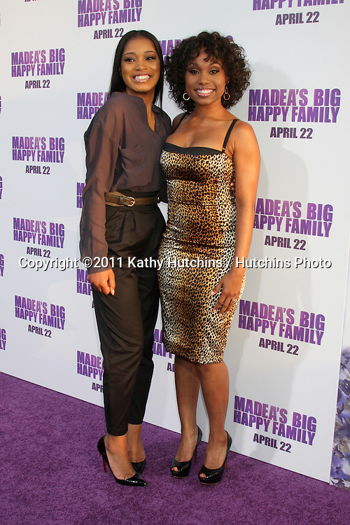 "LOS ANGELES - APR 19:  Keke Palmer, Angell Conwell arriving at the ""Madea's Big Happy Family"" Premiere at ArcLight Cinemas Cinerama Dome on April 19, 2011 in Los Angeles, CA.."
