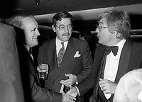 FILE PHOTO -  Serge Losique<br /> , clement Richard, Denis Heroux<br /> au party de cloture du Festival des Films du Monde, le 1er septembre 1986.<br /> <br /> PHOTO : Pierre Roussel<br />  - Agence Quebec Presse