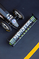 Jun 17, 2016; Bristol, TN, USA; Detailed view at the front wing and wheels on the dragster of NHRA top fuel driver Brittany Force during qualifying for the Thunder Valley Nationals at Bristol Dragway. Mandatory Credit: Mark J. Rebilas-USA TODAY Sports