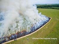 63863-02701 Summer prairie burn Prairie Ridge State Natural Area - aerial - Marion Co. IL