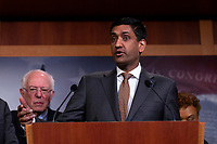United States Representative Ro Khanna (Democrat of California) delivers remarks alongside United States Senator Bernie Sanders (Independent of Vermont), United States Representative Barbara Lee (Democrat of California), United States Representative Pramila Jayapal (Democrat of Washington), United States Senator Kirsten Gillibrand (Democrat of New York), United States Senator Patrick Leahy (Democrat of Vermont), United States Senator Chris Van Hollen (Democrat of Maryland), and United States Senator Maria Cantwell (Democrat of Washington) during a press conference on Capitol Hill in Washington D.C., U.S., on Thursday, January 9, 2020.  The lawmakers are working together on legislation that would prevent a war between the United States and Iran without congressional authorization.  <br /> <br /> Credit: Stefani Reynolds / CNP/AdMedia