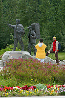 Statue of a Gold Rush guide and explorer sits at the center of Skagway Centennial Park, located on Broadway St., Skagway, Alaska.