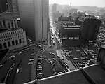 Pittsburgh PA - View of the new Federal Office Building, Post Office and Fort Pitt Hotels at Liberty Ave and Grant Street. Photo taken from the roof of the Pennsylvania Railroad Station.  Fort Pitt Hotel was once one of the most elegant hotels in the city during the early 1900s.