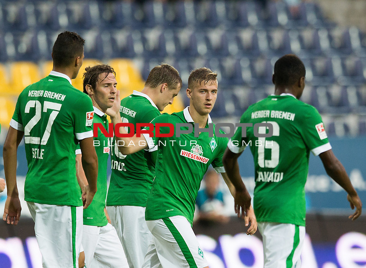 08.07.2014, Florian-Krygier-Stadion , Stettin, FSP Pogon Stettin (PL) vs Werder Bremen (GER), im Bild Davie Selke (Bremen #27), Ludovic Obraniak (Bremen #7), Martin Kobylanski (Bremen #20), C&eacute;dric Makiadi (Bremen #6)<br /> <br /> <br /> <br /> <br /> Foto &copy; nordphoto