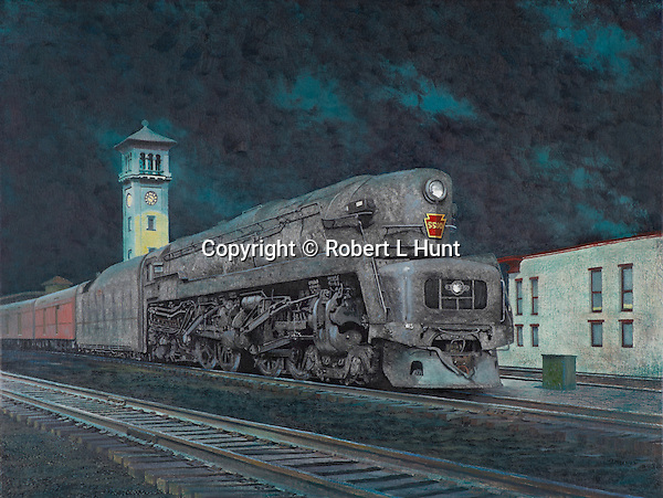 "Pennsylvania Railroad T1 steam locomotive pulling a passenger train, coming into the station at night in Dayton, Ohio, circa 1950. Oil on canvas, 19"" x 25"""