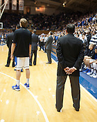 Duke Head Coach Mike Krzyzewski before the start of a game against Florida Gulf Coast, Sunday, Nov. 18, 2012. Krzyzewski is the winningest coach in NCAA history.